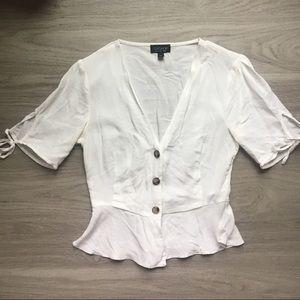 Topshop White Button-Up Blouse